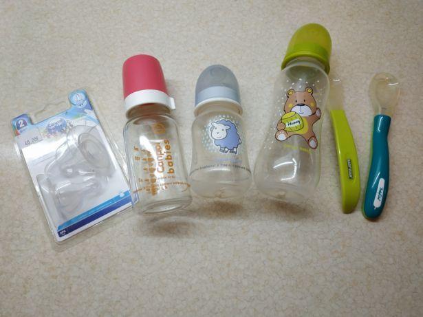 Набор (пустышки, бутылочки, ложечки) или отдельно