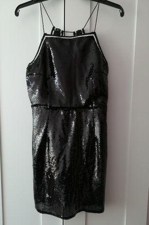 Czarna sukienka cekinowa błyszcząca Sylwester cekiny mini S M