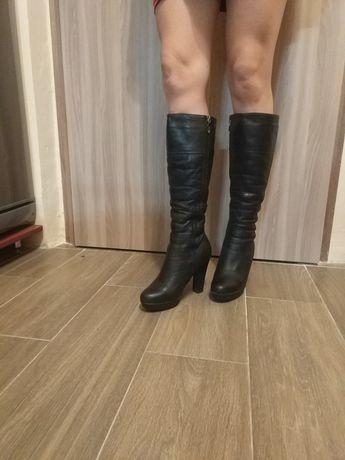 Сапоги зимние кожа на каблуке