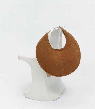 Zara Овальная сумка натуральная замша