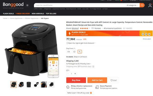 [NOVA] Fritadeira de Ar Quente BlitzWolf (6L) BW-AF1 Smart Air Fryer