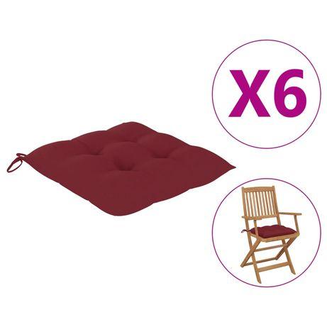vidaXL Almofadões de cadeira 6 pcs 40x40x7 cm tecido vermelho tinto 314889
