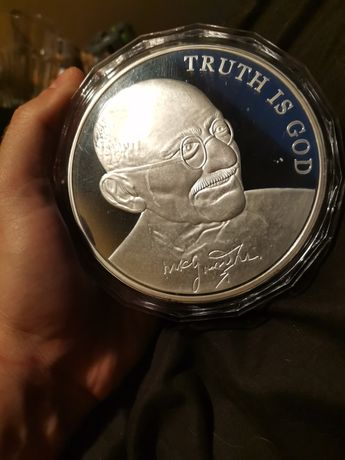 Moneta 5000 lirow platerowana srebrem. 1 kg