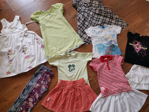 PAKA ubrań na lato dla dziewczynki koszulki sukienki rozmiar 116-122