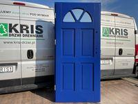 Drzwi zewnętrzne drewniane OD RĘKI ocieplane angielskie niebieskie5002