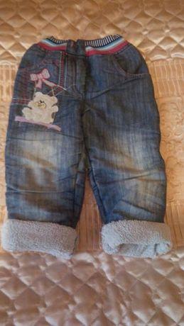 Штанишки джинсовые теплые для девочки
