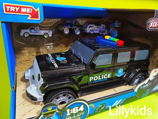 Машина-гараж, автовоз 660 А-254 Полиция с 3 машинками и полицейским,
