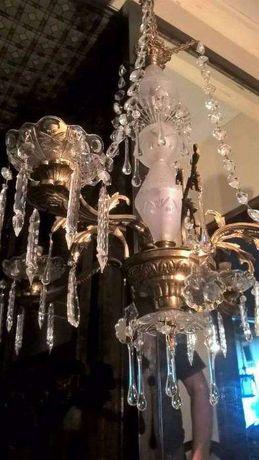 Candeeiro/lustre de pingentes em Meio Cristal e bronze