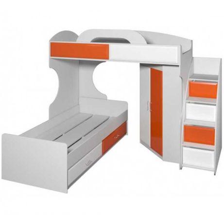 Двухъярусная кровать со шкафом Один матрас в подарок.