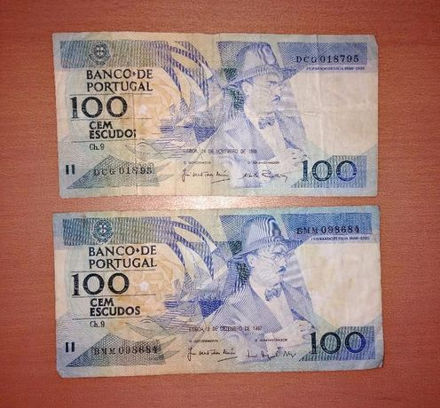 Vendo notas 100 cem escudos