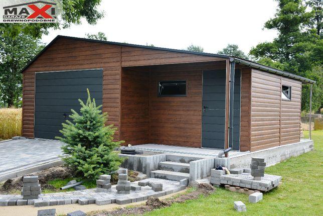 Garaz blaszany, ocynkowana konstrukcja, z profili, drewnopodobny