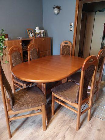 Drewniany stół rozkładany i 12 krzeseł
