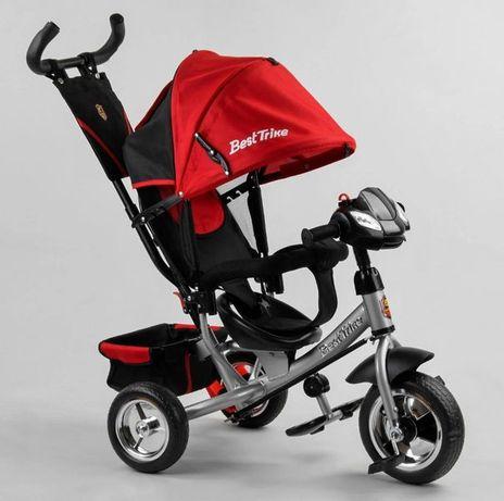 Детский трёхколёсный велосипед красный, колёса Пена, ручка контроля
