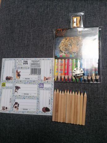 Kredki bambino 12 kol, kredki zwykłe ołówkowe 12 kol,nalepki na zeszyt