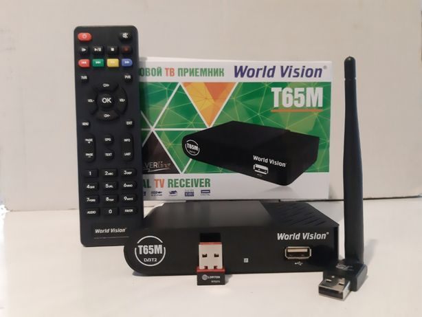 Эфирный Т2 тюнер WorldVision T65М + Интернет+Youtube+AC3+WiFi адаптер