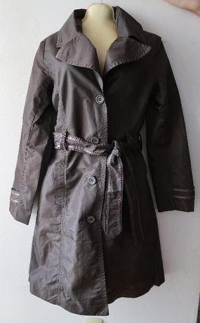 bardzo modny płaszczyk,non -basic-firma,ciemna czekolada-kolor,stan bd