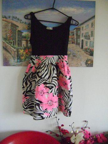 Sukienka w kwiaty wiązana r.m/l