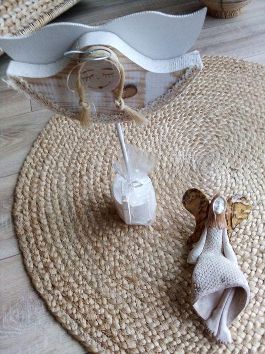 Anioł drewno dekoracje świąteczne, figurka ceramiczna para Kamionki - image 1