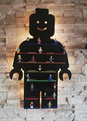 Półka Regał podświetlana na ludziki lego lampka Led 68 cm+gratis