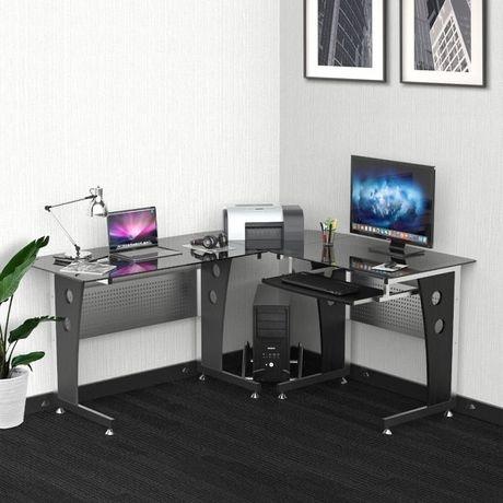 Stół biurowy Biurko narożne w kształcie litery L Szkło  Czarne