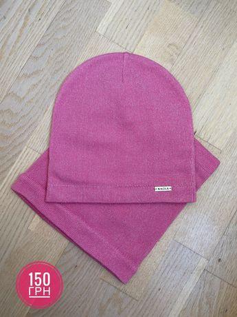 Комплект для дівчинки ШАПКА ХОМУТ(рожевий, сірий, бежевий)