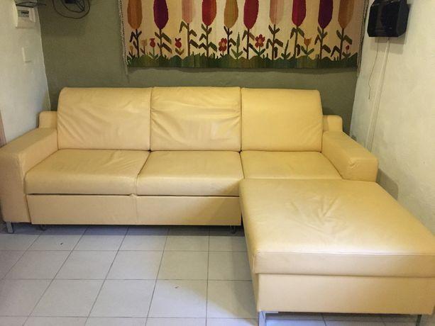 naroznik sofa kanapa  Wajnert skórrzany  z funkcja spania +  fotel