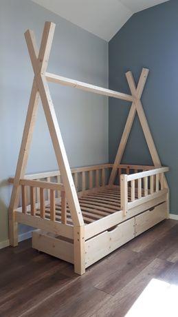 ŁÓŻKO TIPI drewniane z szufladami i barierką 160 x 70 dla dzieci