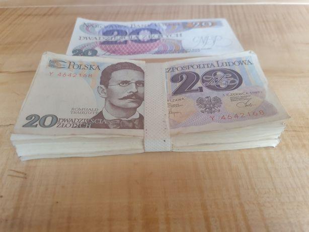Banknoty 20 zł 1982 , 100 szt Plik pięknej Seri Y