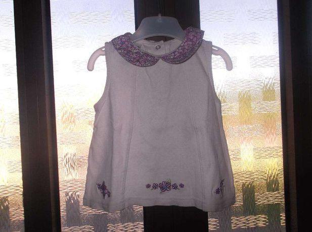 Top / Túnica menina branca flores roxas
