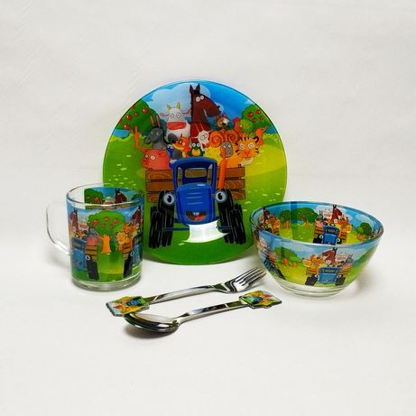 Дитячий посуд (5 в 1) синій трактор