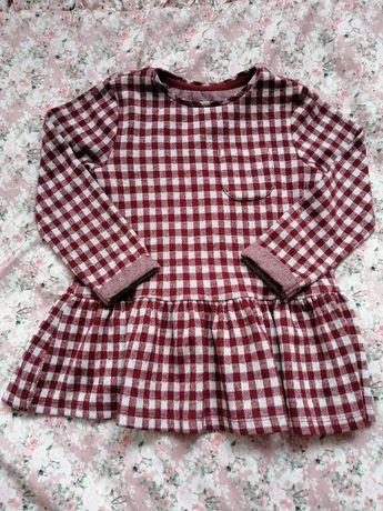 F&F piękna bluzka tunika bluzeczka w kratkę 98 2-3 lata