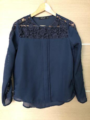 Синяя шифоновая блузка с ажурными вставками, S