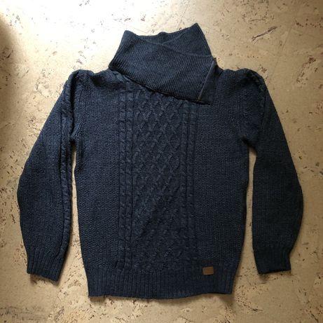 Стильный шерстяной акриловый мужской свитер с большим воротом синий