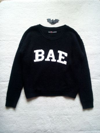 FB Sister sweter pleciony ciepły czarny biały napis bae S/M