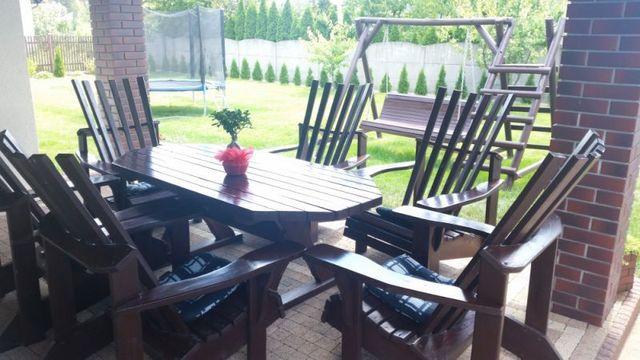 Sprzedam drewniane meble ogrodowe stół 190 cm+ 4 solidne fotele
