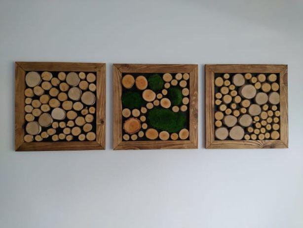 Rękodzieło obrazy plastry drewna mech stabilizowany