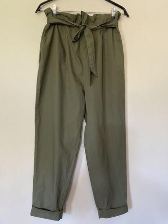 Spodnie typu paperbag khaki