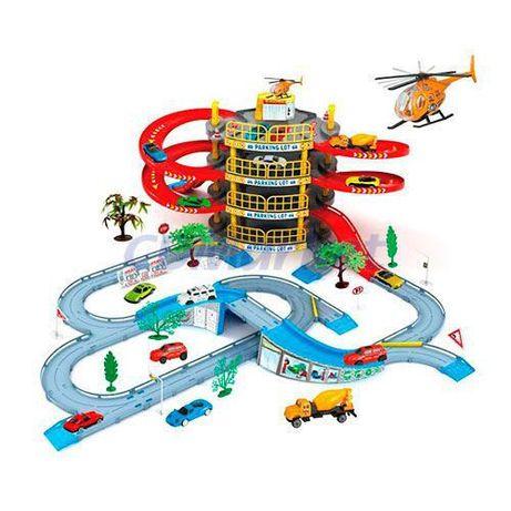 Детский гараж 922 -10, 4 этажа, 2 машинки, вертолет