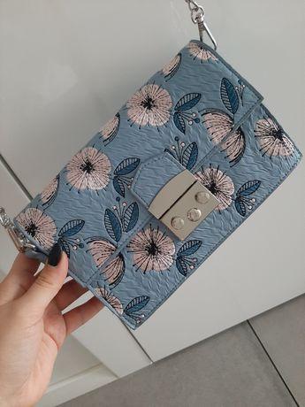 Torebka Top Secret, kwiaty, niebieska, elegancka