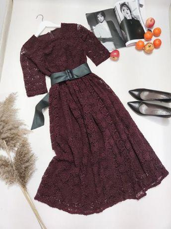 Кружевне бордове міді плаття від Asos розмір S-M