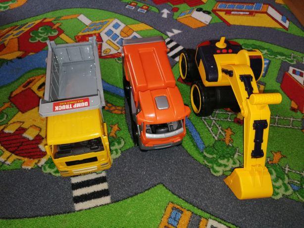 Auta, śmieciarka, wywrotka, koparka, zabawki