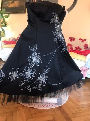Sukienka sylwestrowa czarna srebrne kwiaty tiul rozmiar 12 (40) BAY