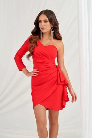 Czerwona sukienka wesele na 1 ramię lou Varlesca M XL