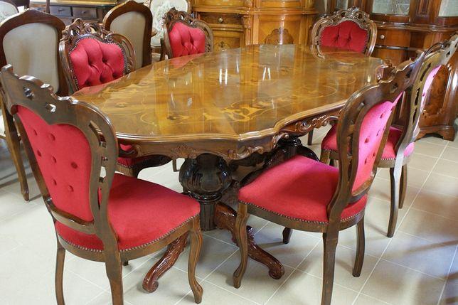 Piękny Włoski Stylowy Komplet Stół 6 Krzeseł Bordo Zapraszam:)