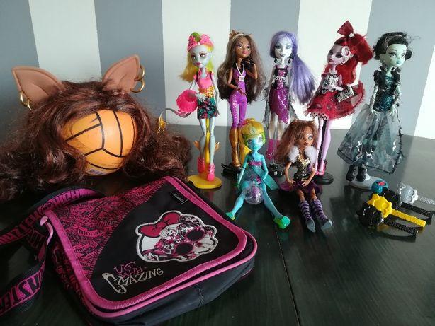 Zestaw-lalki, peruka,torba, piórnik, pojemnik, organizer Monster High