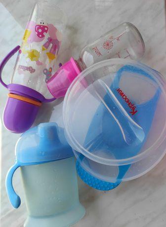 Набор детской посуды/ тарелка/бутылочка/непроливайка