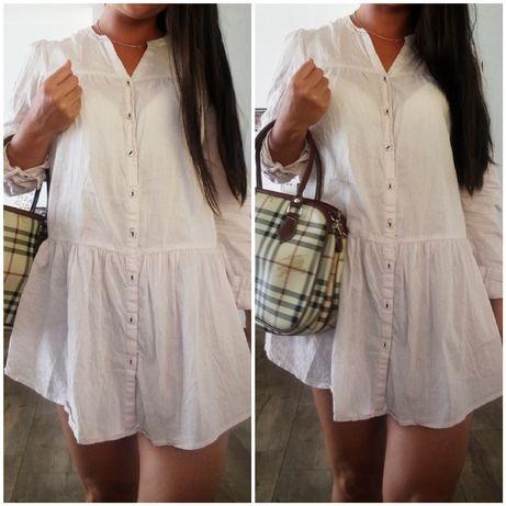 H&M sukienka tunika falbanka pudrowy róż xs