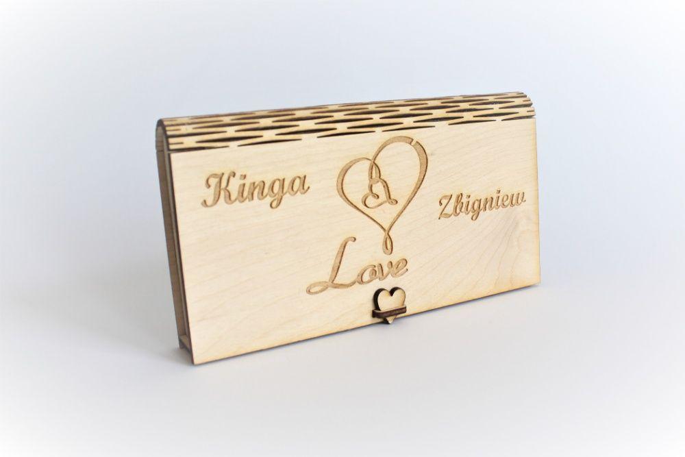 Pudełko na pieniądze - pamiątka ślub grawer prezent