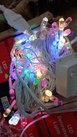 Гирлянда от сети белый провод 100 ламп. ОПТ