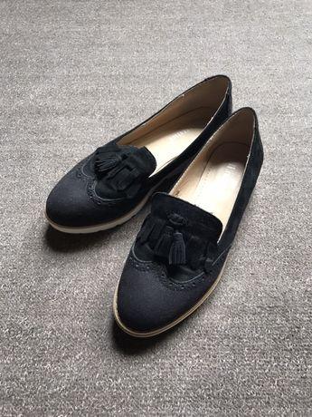 Buty damskie czarne mokasyny zamszowe 36